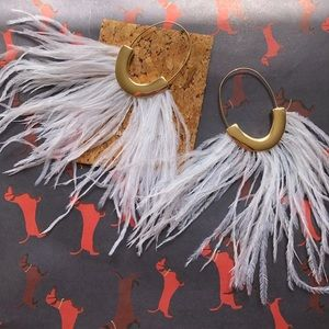 NWT Anthropologie feather statement earrings